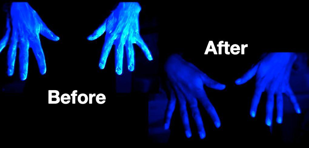 Грязь на руках до и после мытья с мылом