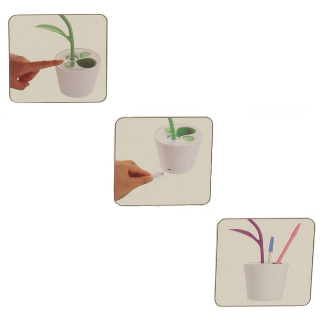 Лампа Органайзер Цветок (Салатовый) Включение и зарядка