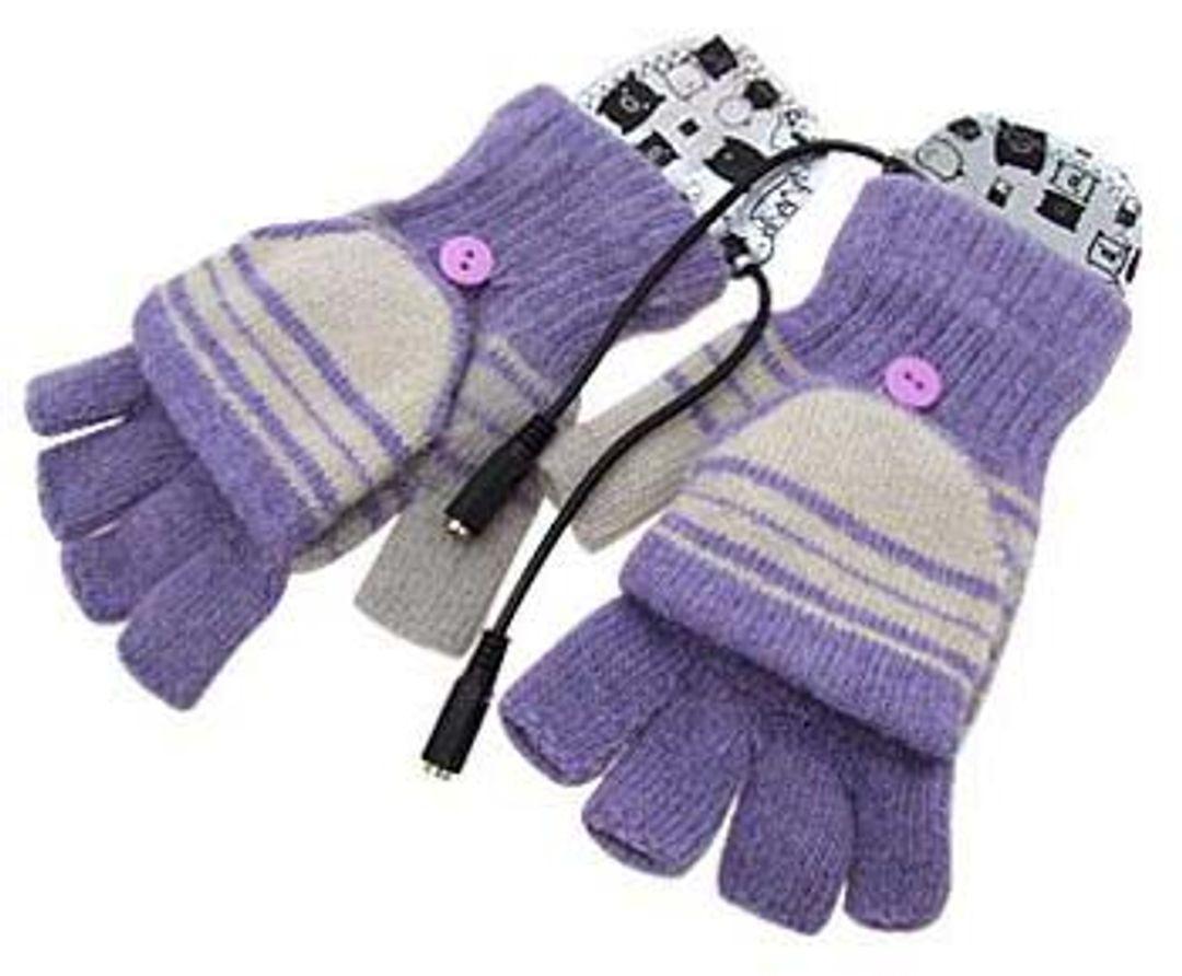 Перчатки с подогревом от USB Фиолетовые