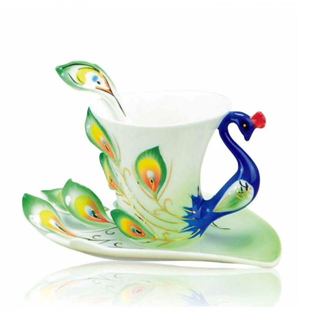 Кружка с блюдцем и ложкой Жар-птица (Сине-зеленая)