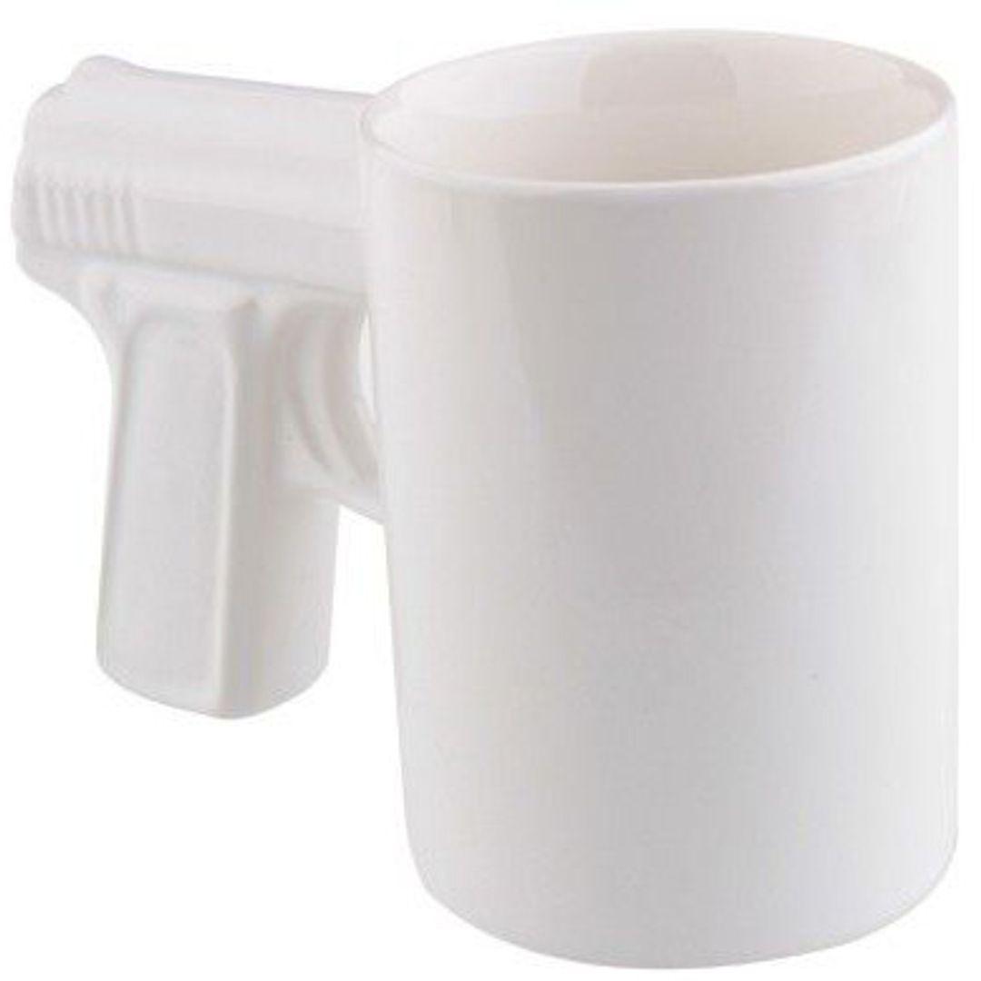 Кружка Пистолет (Белая с белой ручкой)
