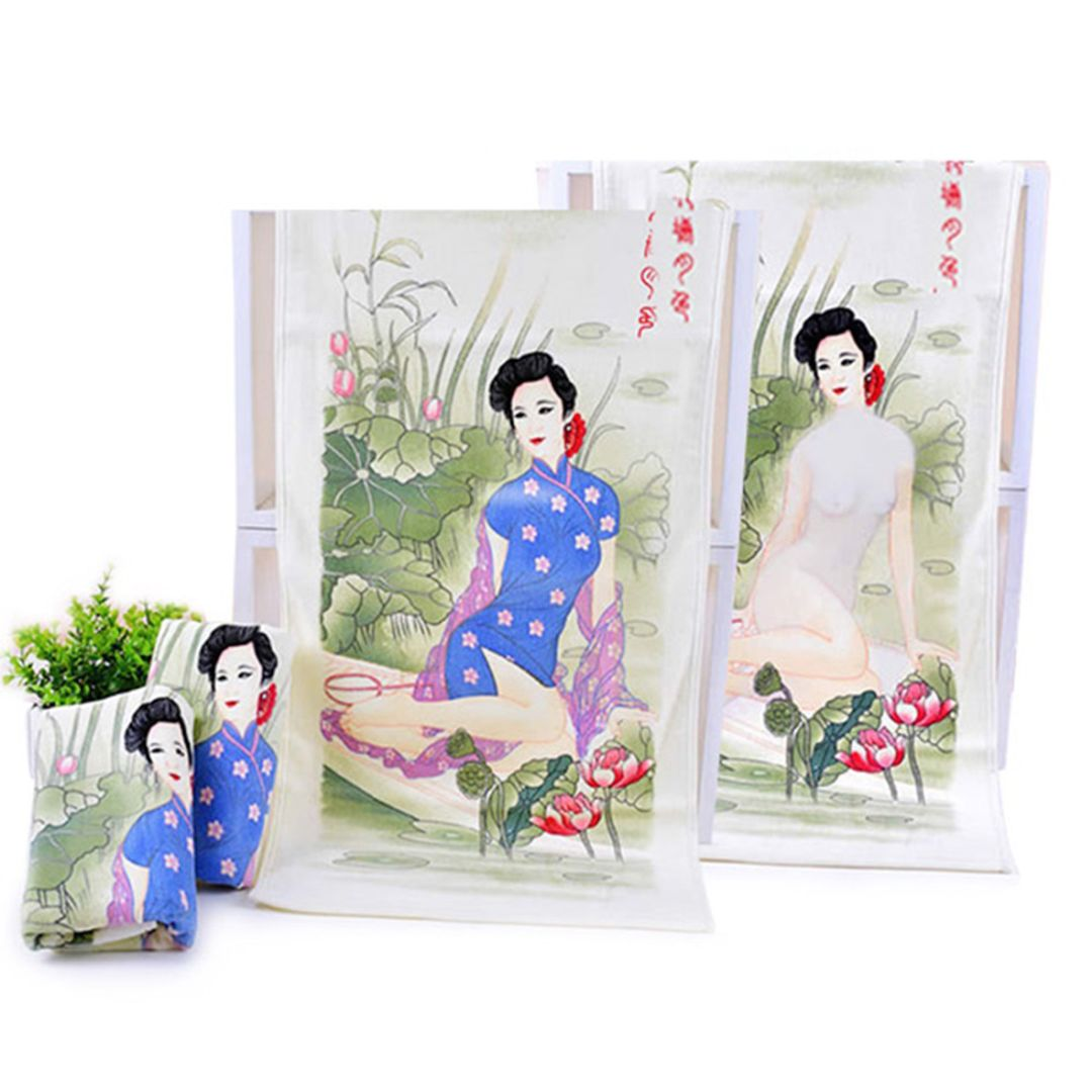 Полотенце, меняющее рисунок Девушка (Восточная девушка) В сложенном, развернутом и смоченном водой виде