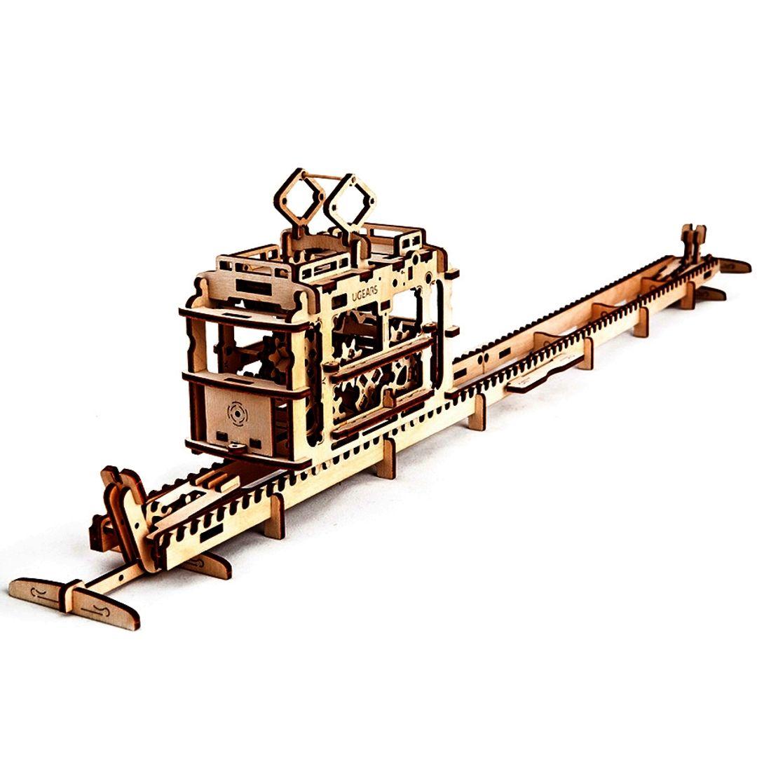 Механический 3D Пазл Ugears Трамвай Ездит по рельсам и без них
