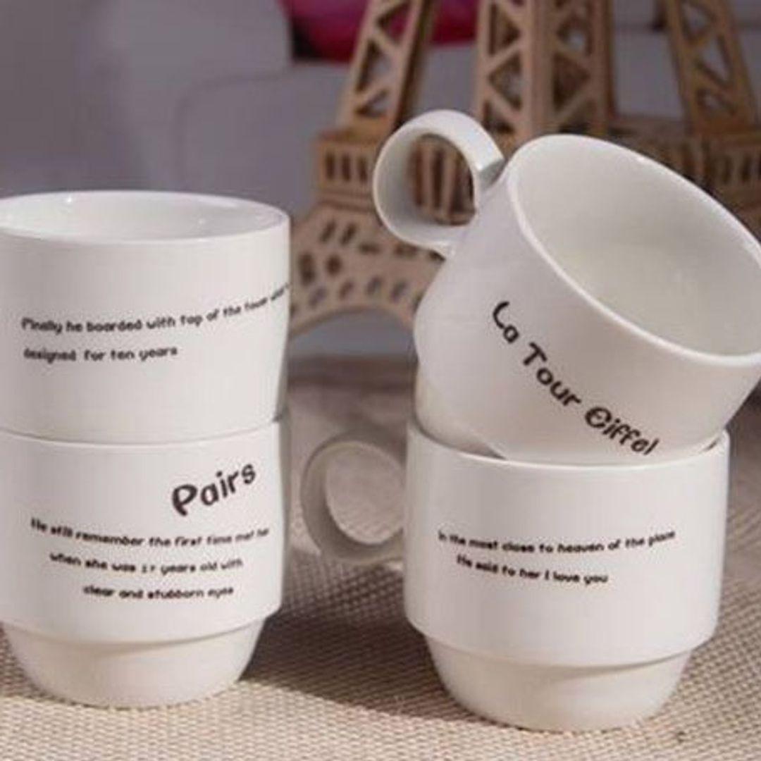 Набор чашек Эйфелева башня Обратная сторона чашек