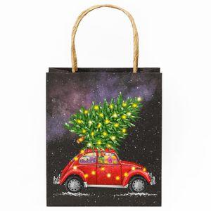 Подарочный пакет Новогодняя машина маленький
