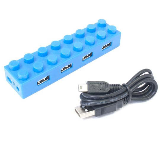 USB Хаб Лего (Голубой) с проводом