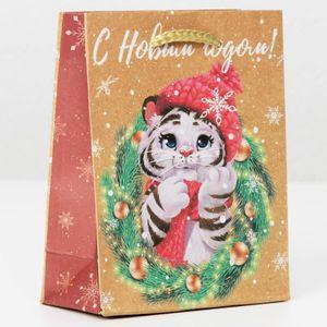 Подарочный пакет Тигренок и веночек (12*15*5,5 см)