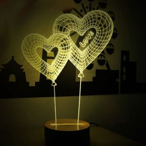 3D Лампа Сердечки