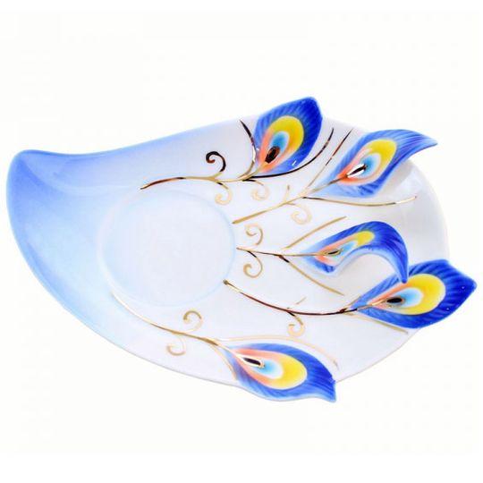 Кружка с блюдцем и ложкой Жар-птица (Синяя) Блюдце