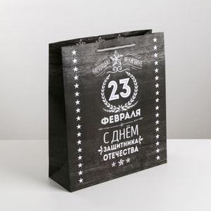 Подарочный пакет Защитнику Черный (26 х 30  х 9 см)
