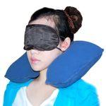 Надувная подушка в дорогу с маской для глаз