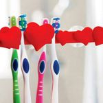 Держатель для зубных щеток Сердечки (Красный)