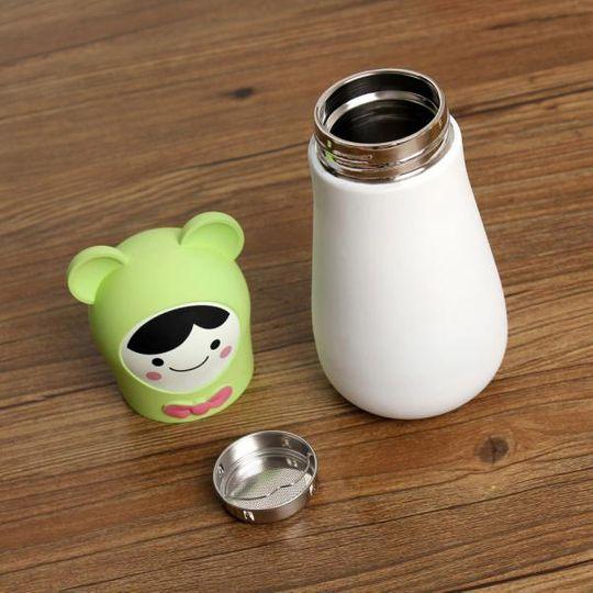Кружка-термос Мишка Bear (Белый с зеленым) Крышка и ситечко отдельно