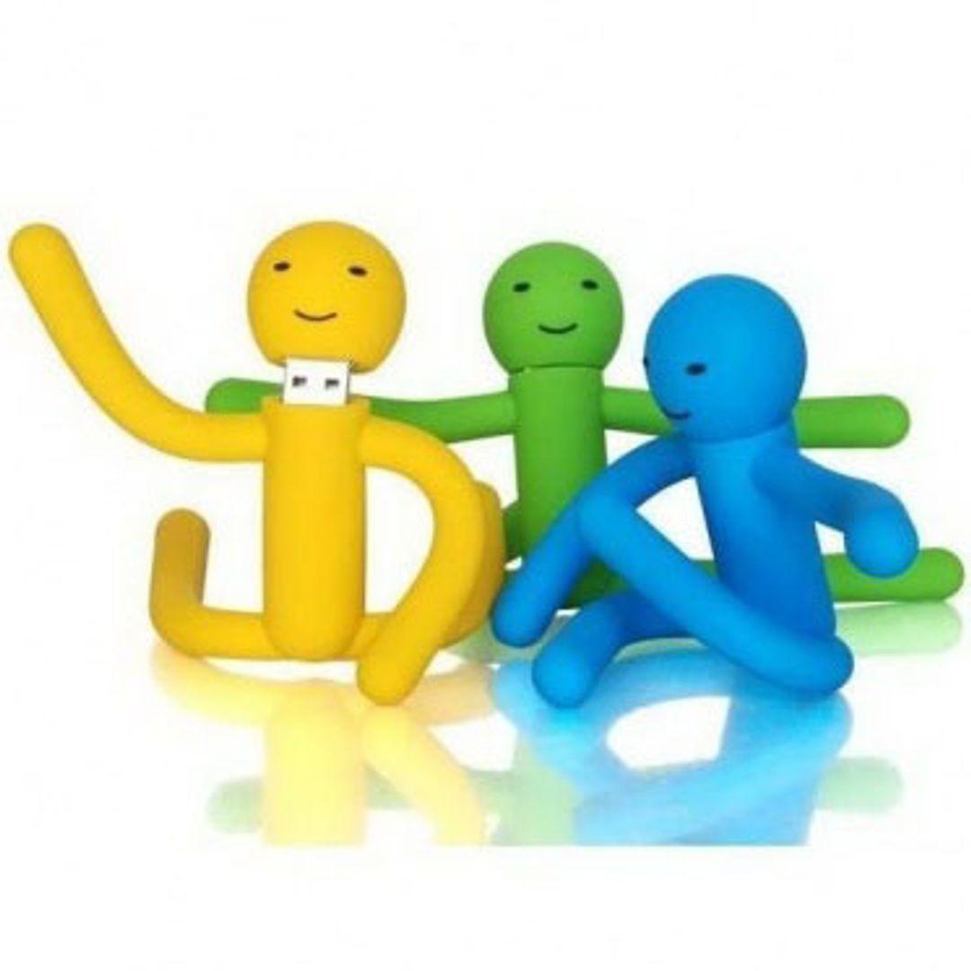 Флешка Человечек Антистресс 8 Гб (Желтый, зеленый, голубой)