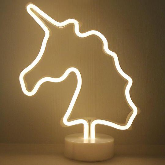 Неоновый светильник Единорог (Белый)