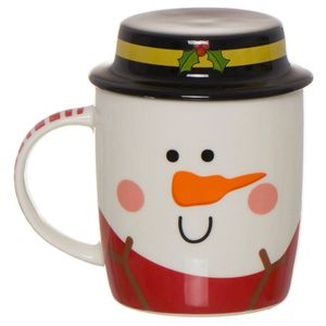 Кружка с крышкой Снеговик Snowman