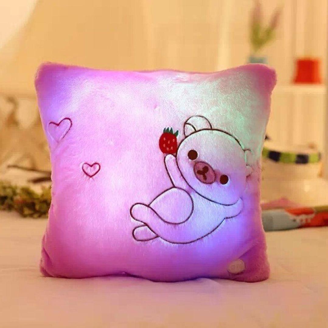 Светящаяся подушка Мишка (Розовая)