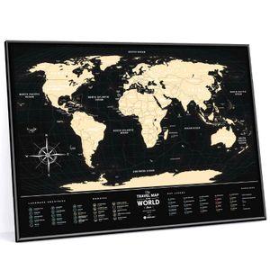 Скретч-карта мира Travel Map Black World в металлической раме (на английском)