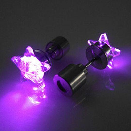 Светящиеся светодиодные серьги: фиолетовые звездочки