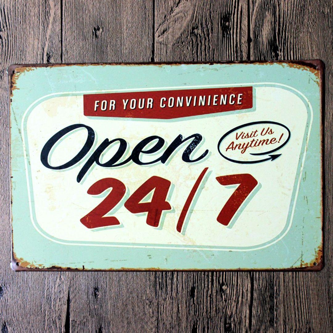 Металлическая табличка Open 24/7
