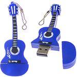 Флешка Гитара 16 Гб (Синяя) В открытом и закрытом виде