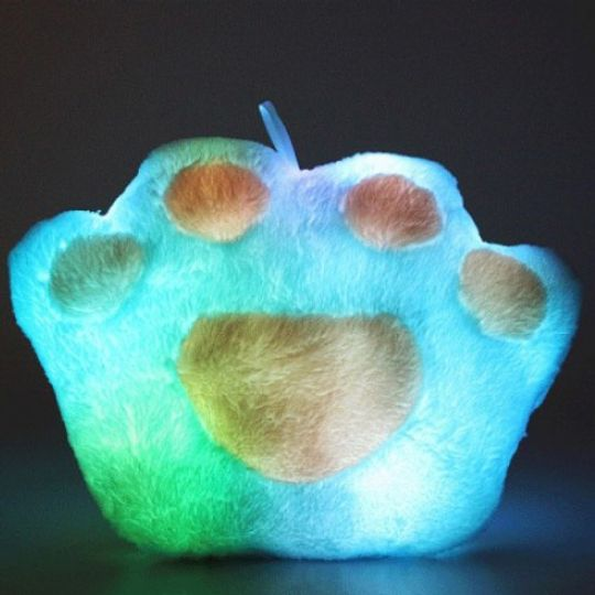 Светящаяся подушка Лапа (Голубая с розовым) С подсветкой