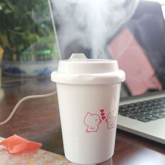 USB Увлажнитель воздуха Стакан с кофе В работе