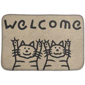 Коврик для входной двери 2 кота Welcome! (бежевый)