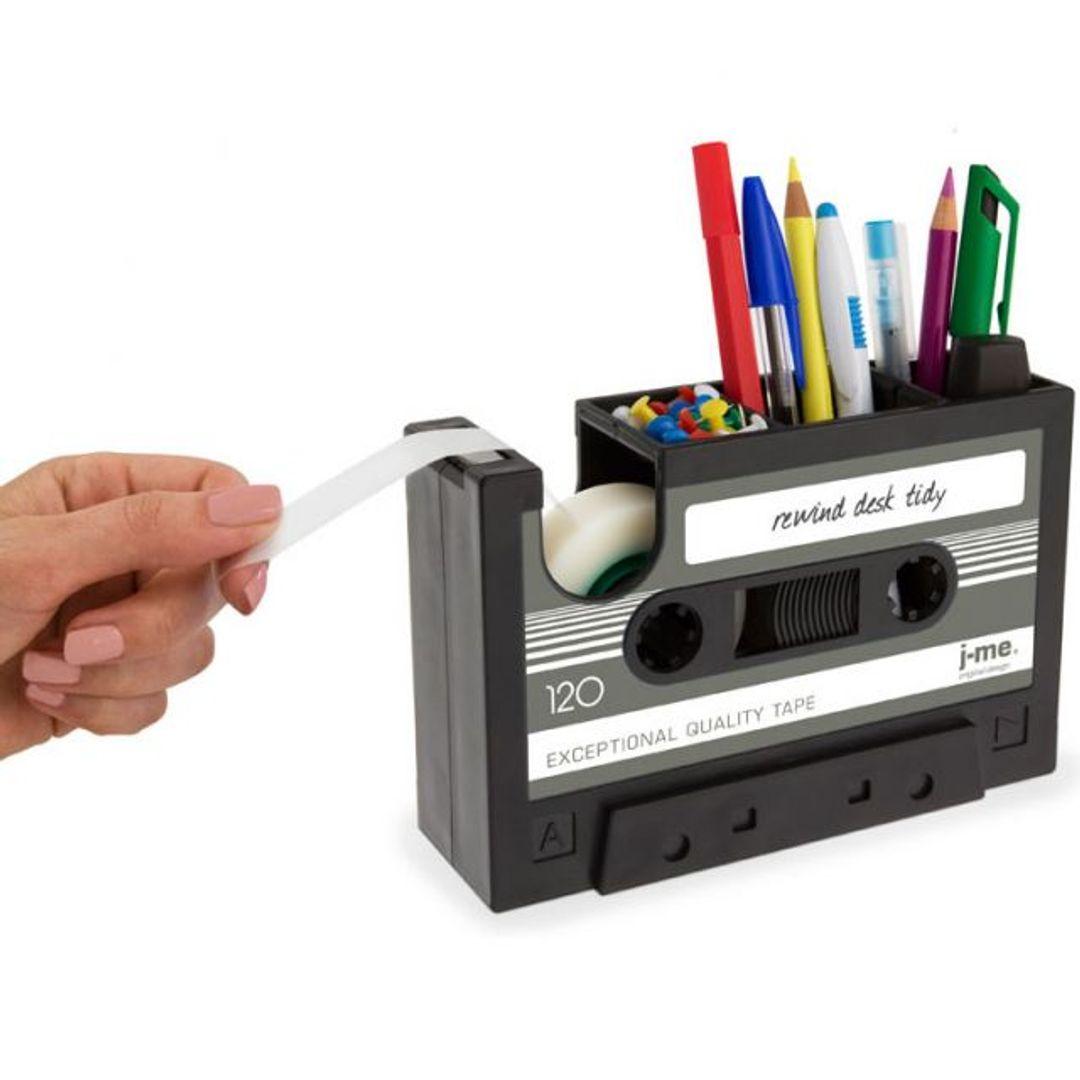 Настольный органайзер Кассета Rewind Desk Tidy (Черный с серым) Использование держателя для скотча