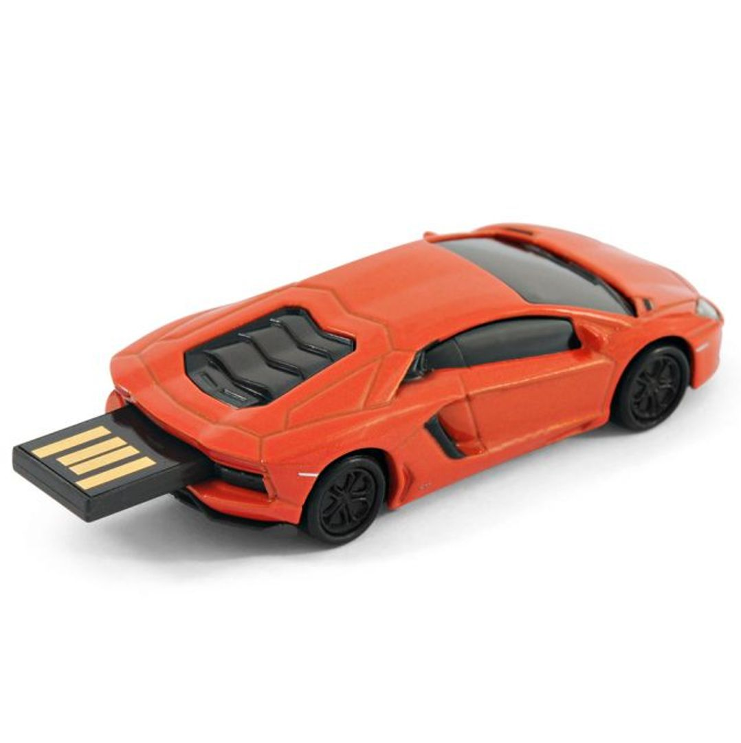 Флешка Lamborghini 8 Гб (Оранжевый) С выдвинутым носителем