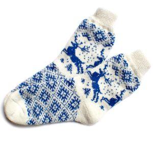 Носки шерстяные белые с синими оленями