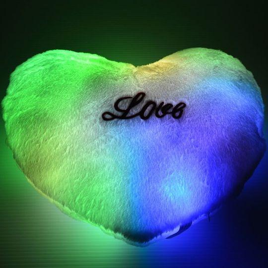 Светящаяся подушка Сердечко (Зеленая) С подсветкой