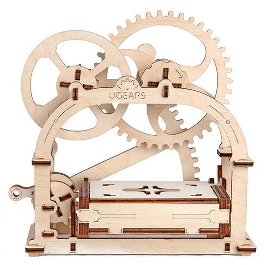 Механический 3D Пазл Ugears Шкатулка Шестеренки поднимают крышку