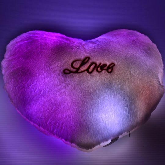 Светящаяся подушка Сердечко (Розовая) С подсветкой