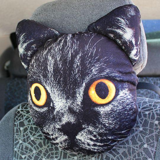 Подушка на подголовник Черный кот