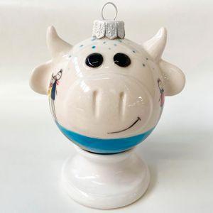 Фарфоровый елочный шар Коровка Земной шар (ручная роспись)