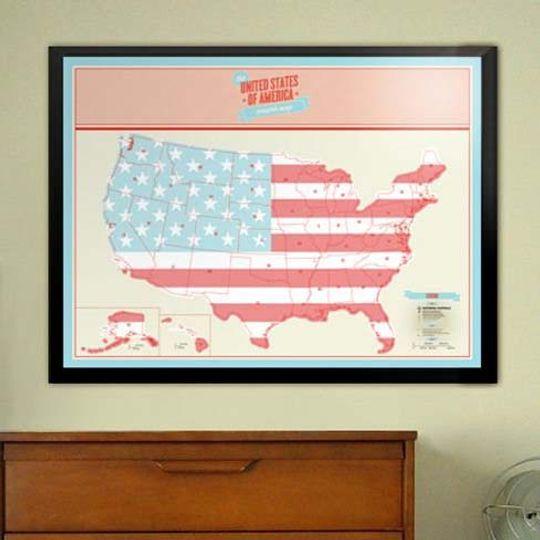 Скретч-карта США (на английском)