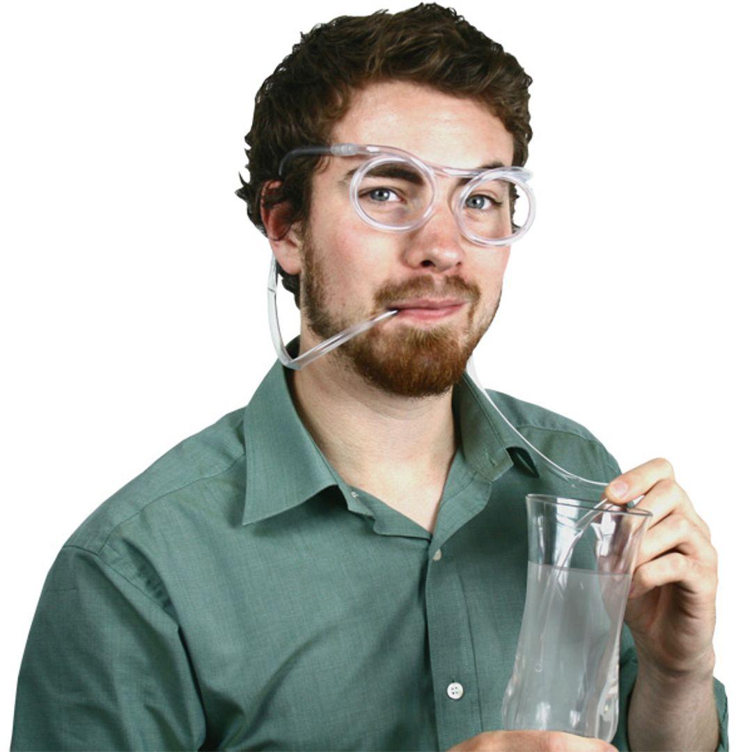 Трубочка для коктейля Очки (Белый)