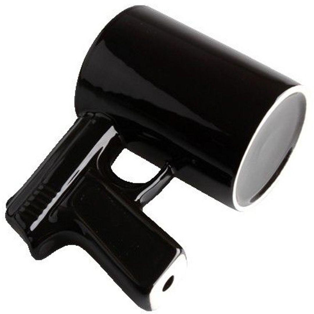 Кружка Пистолет (Черная с черной ручкой) Вид снизу