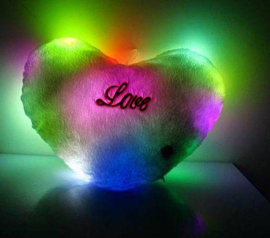 Светящаяся подушка Сердечко Розовое