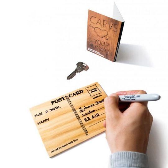 Деревянная открытка Carve your own