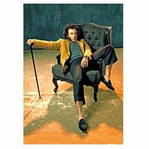 Открытка Модные классики Пушкин в кресле