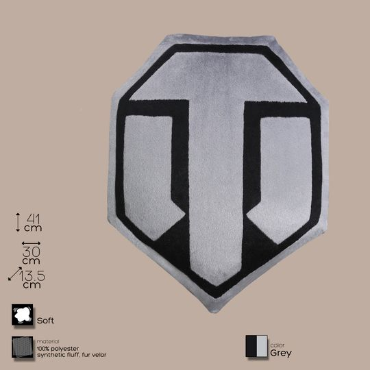 Подушка семиугольная World of Tanks (Серый с черным)
