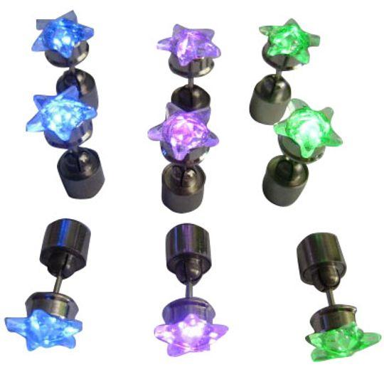 Светящиеся светодиодные серьги: голубые звездочки, фиолетовые звездочки, зеленые звездочки