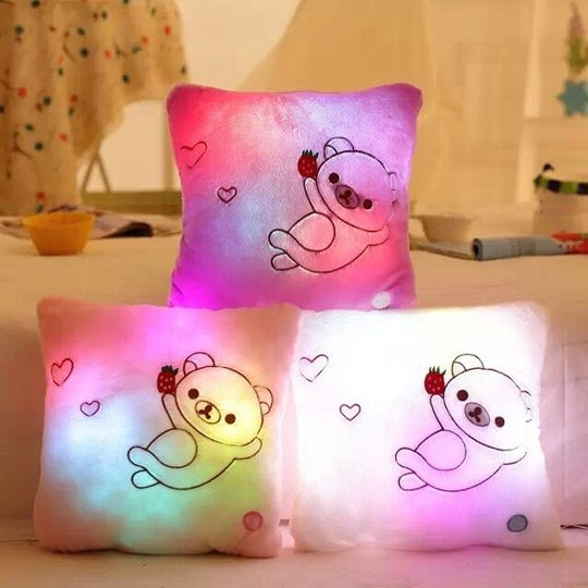 Светящаяся подушка Мишка Разные цвета