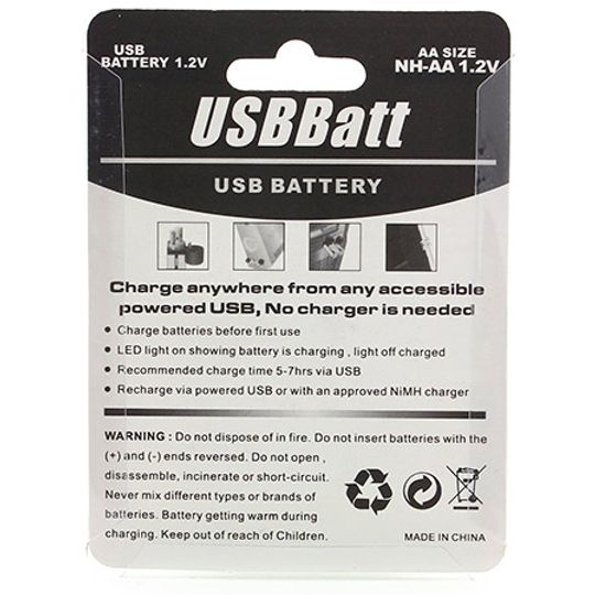 USB Аккумуляторы AA (2 шт) Обратная сторона упаковки
