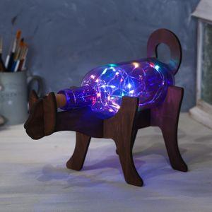 Светильник в бутылке на подставке Кот