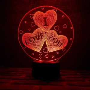 3D Лампа I Love You