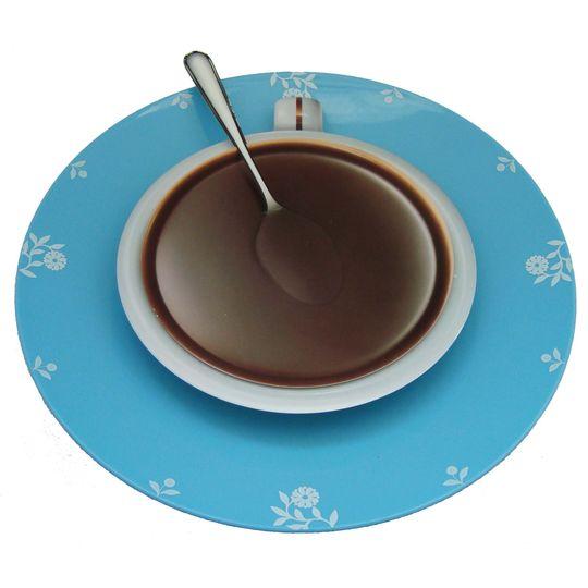 Часы Чашка кофе (Голубой с цветами)