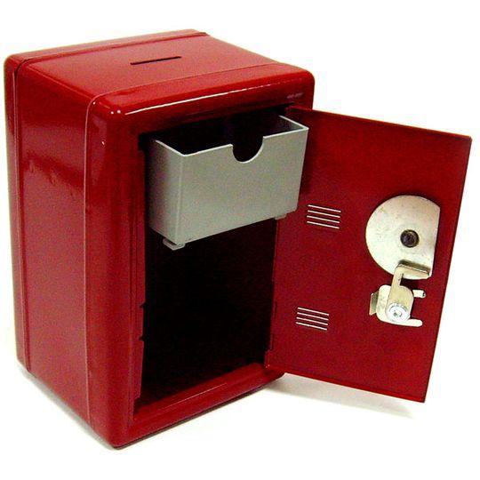 Копилка Металлический сейф (Красный) Изнутри